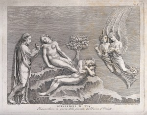 V0034368 God lifts Eve from sleeping Adam's side. Etching by G.B. Leo